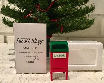 "The Original Snow Village line - ""Mail Box"" Red & Green #5198-5"
