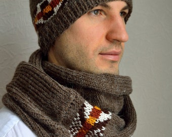 Hand knitted men's hat and scarf set