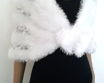 Bridal wrap stole shoulder cover up capelet shawl white wedding marriage ceremony evening, knit handmade.
