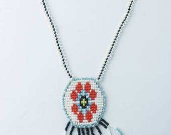 Vintage Colorful Native American Indian Beaded Necklace