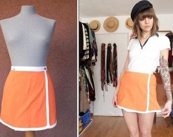 1960's Mod Girl Sports Skirt - 60's Orange Sportwear Skirt - Size Xs