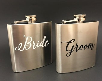 Newlyweds Flasks, Metal Flask, His & Hers, Bride Groom Flasks, Brides gifts, Couples gift, Personalized Bridal Shower Gift, Engagement gift