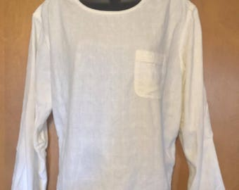 J. Jill Linen & Rayon Pullover Long Sleeve Top in Off White Misses Medium