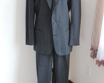 1980 s pierre cardin costume gris fines rayures de couture lhomme en laine paris new york pliss pantalons deux pices - Pierre Cardin Costume Mariage