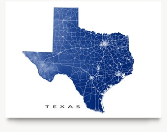 Texas Map, Texas State Art Print, USA State Outline Map Poster