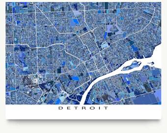 Detroit City Map Etsy