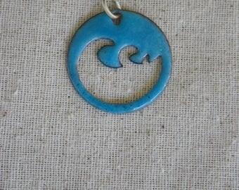 Blue Enamel Wave Pendant
