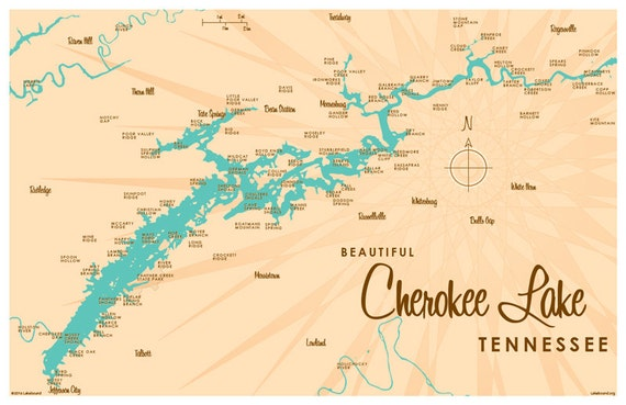 Cherokee Lake TN Map Print - Tn lakes map