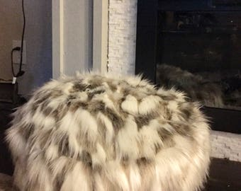 Faux fur pouf - Floor pillow - Ottoman - Floor cushion - Tibetan Sand Fox floor pillow - Pouf