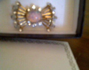 Vintage Signed Van Dell 1/20 12 Kt. Gold Filled Brooch Pin with Faux Opal and Rhinestones