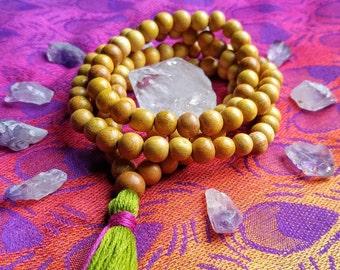 Wood Mala Beads, 108, Prayer Beads, Tassel, Handmade, Jewelry, Necklace