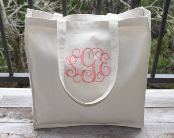 "FAST SHIPPING! Monogrammed Bag, Natural Canvas Tote Bag, Beach Bag, Bridesmaid Gift, 14"" x 15"", Choose Your Monogram Color!"