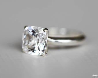 White Sapphire Ring - Diamond Alternative Engagement Ring - 5 Carat Large White Sapphire Ring - Cushion Cut White Sapphire Solitaire Ring