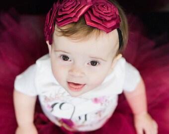 Burgundy  Roses Headband Baby Girl Headband Flower Girl Headband Photo Prop Satin Flower Headband Cranberry headband
