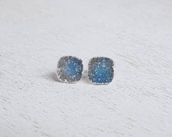 Gift For Her, Druzy Stud Earrings, Blue Druzy Earrings, Silver Studs, Minimalist Earrings, Everyday Studs, Simple Small Stone Posts, G4-113