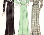 30s 1930s dress vintage sewing pattern kick pleat fitted skirt art deco bodice in 3 styles bust 34 repro