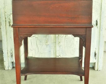 Wood Sewing Stand, Storage Stand for Sewing, Early 1900s Mahogany Finish Stand