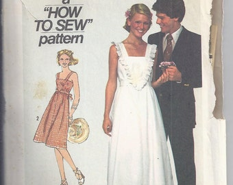 Simplicity 7869 Vintage Sewing Pattern from 1977, Pullover Dress, Sundress. How to Sew Pattern, Bust 34, Boho