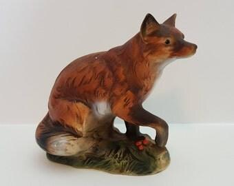 Vintage Napcoware Fox Ceramic Figurine • Made in Japan  C-6539  Cabin or Rustic Decor  KnickKnack Room Decor  Childs Room