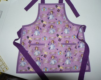 SALE Girls Apron Sophia the First Apron Purple Princess Apron with Pockets Birthday Gift for Girl