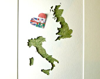 Romantic Gift, Two Homes, Two Countries, Italy England Gift, Heart Art Gift, Love Distance, England Map, Italian Map Flag, UK Map Flag