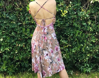 Floral tango dress beige white,pink and black open back