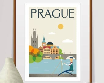 city prints, mid century modern art, travel poster, city Illustration, wall decor, home decor, city poster, prague print, city art, travel