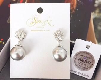 Flower Pearl Earring, Bridal Jewely, Gift of Anniversary, Swarovski Pearl Handmade Earring, Bridesmaids Set, Wedding Ceremony Earring,PR0175