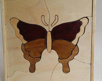 Hand Made Wooden Butterfly Puzzle Great for Kids