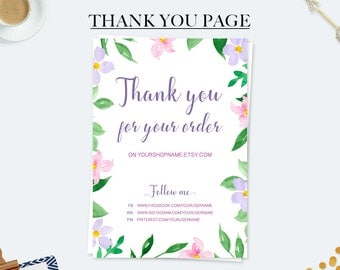 Marketing kit, thank you for your purchase cards, order cards, business cards, custom thank you cards, coupon code card, printable cards