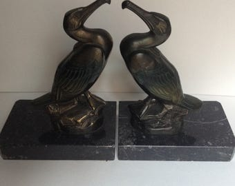 Pair of Signed Bronzed Art Deco Cormorant Bookends