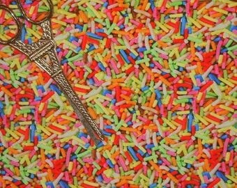 Rainbow Candy Sprinkles Organic European Cotton Lycra Knit Jersey Fabric [SKU:MFR8FAB076]