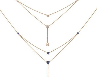Exclusive gold vermeil layered lariat Y necklace, with round charms black zirconia, 925 sterling silver