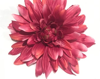 Large Single Dark Pink Dahlia Hair Clip