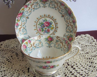 Tuscan China by RH Plant C8259 ORLEANS Wide Mouth Bone China Tea Cup and Saucer - Made in England ca1936