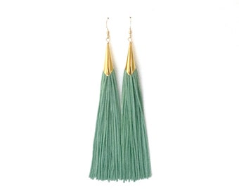 Teal & Gold Tassel Earrings
