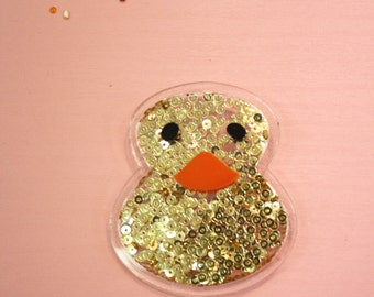 Gold Sequin Baby Duck Shakable Brooch Pin and Patch