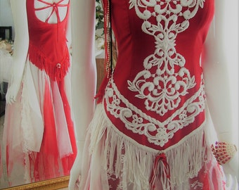 Size 6-8. Red and white cowgirl native american tattered shabby chic country western barn wedding dress.