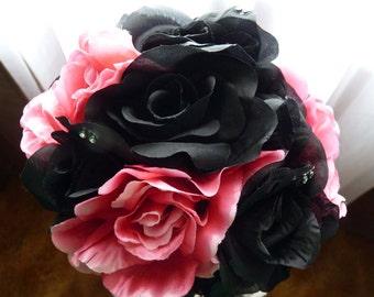 Black & Hot pink wedding bouquet. Rocker* Goth* Punk*