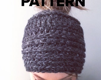 Top Knot Beanie PATTERN, Crochet pony tail beanie, Chunky crochet beanie for bun, Women's hat for messy bun, kids pony tail hat, bun beanie