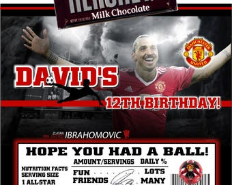 Printable Manchester United Candy Bar Wrappers Soccer Birthday Bar Mitzvah Hershey Chocolate Bar Party Favors Zlatan Lbrahomovic