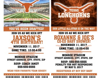 Printable Texas Longhorns College Football Birthday Party Invitation NCAA Ticket Invitation Baby Shower Invitations