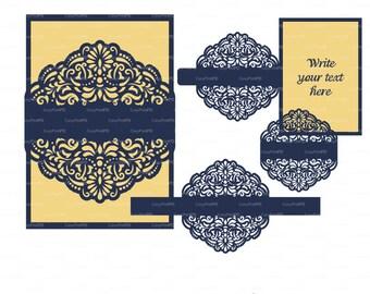 Wedding invitation Template filigree swirl mandala (svg, dxf, cdr) Quinceanera, Christening, Plotter file laser die cut Pattern Cameo Cricut