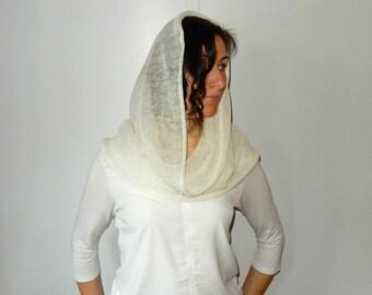 Woman circle scarf Head-covering Infinity shawl scarf Knit chapel veil Linen loop Scarf Spring Shawl Knit cowl Scarf Ladies shawls wraps