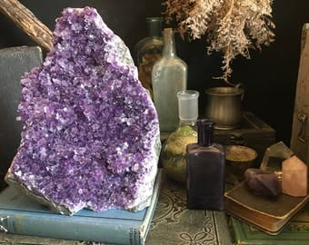 Raw Amethyst Cluster / Purple Crystal Cluster / Large Amethyst Cluster / Healing Crystals / Huge Raw Amethyst Cluster Druzy /  Home Decor