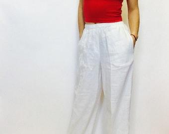 Vintage linen pants white linen pants size small linen wide leg pants summer pants lounge pants lightweight linen pants gauzy linen pants s