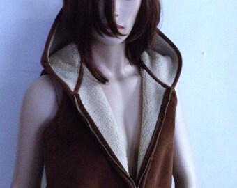 Vintage Ralph Lauren Suede Hoodie Vest Ladies Designer Vest Copper Brown Hoody Full-Zippered Vest Spring Hoodie Vintage Designer Hoodie