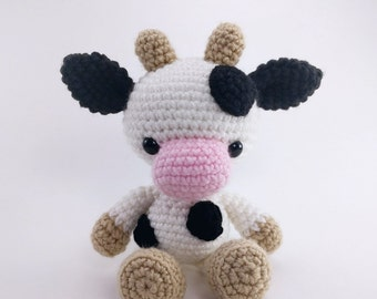 PATTERN: Crochet cow pattern - amigurumi cow pattern - crocheted cow pattern - cow toy tutorial - PDF crochet pattern