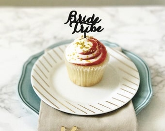 Bride Tribe Appetizer Picks,Cupcake Toppers,Bridesmaids, Cupcakes,Bridal Shower Decor,Weddings,Bachelorette Party, Acrylic, Laser Cut, 4 Ct.