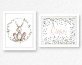 Nursery Set, Gift for Newborn, Bunny Nursery Art, Personalized Name Print, Personalised Nursery, Floral Nursery Art, Nursery Print Set